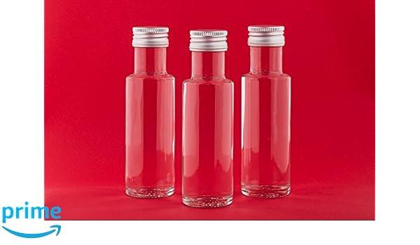 20 botellas vacías 100 ml botellas pequeñas de botella para beber licor botellas de licor Vinagre de Dor SCH ölflaschen con tornillo de cierre 0,1 L para ...