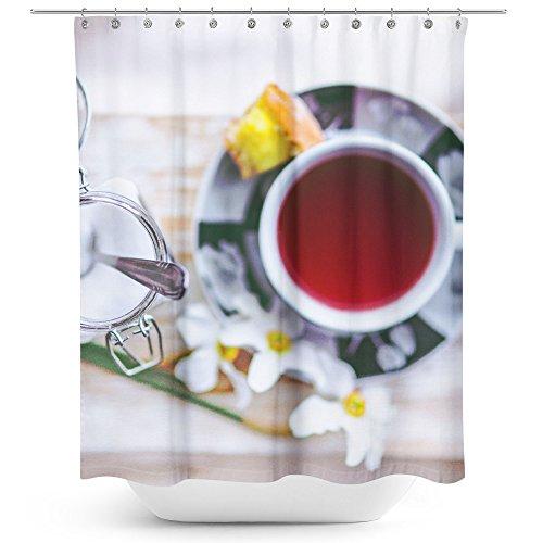 Westlake Art - Tea Drink - Fabric Printed Shower Curtain - Picture Photography Waterproof Mildew Resistant Hook Bathroom - Machine Washable 71x74 inch (172BE) -