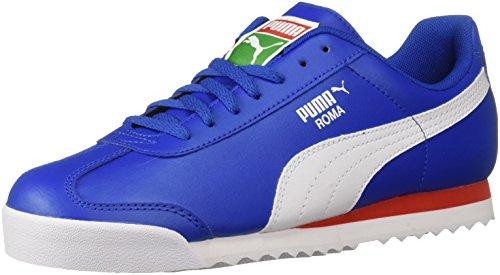 (PUMA Unisex Roma Basic JR Sneaker, Olympian Blue White, 4.5 M US Big Kid)