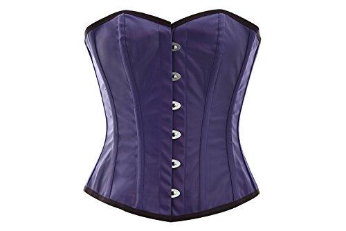 具体的に予測パールBlue Faux Leather Gothic Steampunk Bustier Waist Cincher Overbust Corset Costume