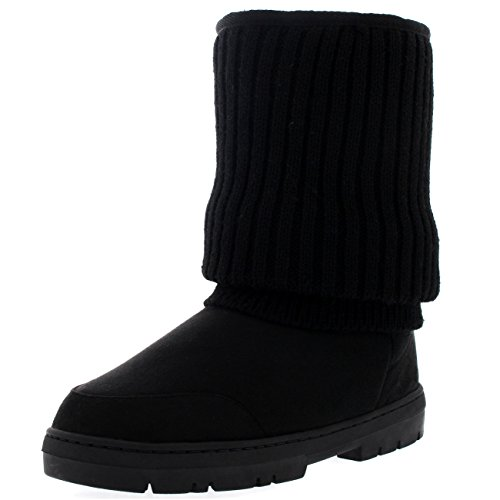 Knit Boots (Womens Short Knitted Cardy Slouch Winter Snow Rain Outdoor Warm Shoe Boots - 7 - BLK38 EA0363)