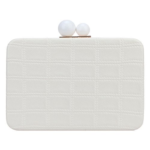 Man Made Pearl (Fawziya Big Man-Made Pearl PU Leather Square Grid Clutch Evening Bags-Lvory)