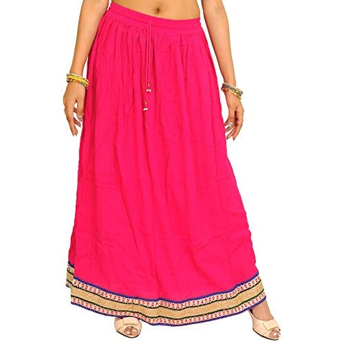 Discount Exotic India Plain Long Skirt With Embellished Patch BO free shipping