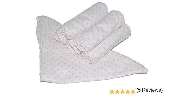 3 x pañuelos cuadrados de muselina 100% algodón rosa lunares, 70 x 70 cm: Amazon.es: Bebé