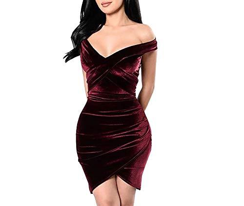 Carolina Dress Vestidos De Fiesta Cortos De Mujer Sexys Color Vino Ropa De Moda para Fiesta Noche Elegantes Casuales (M) Red