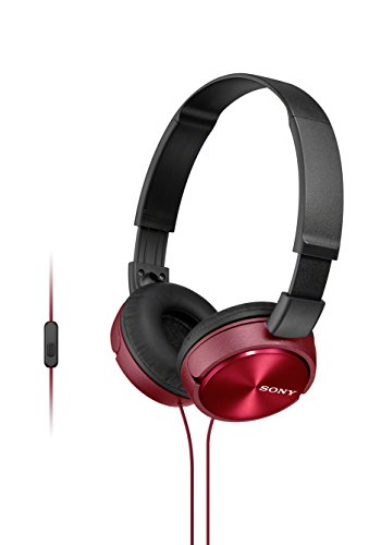 (Sony Foldable Headphones with Smartphone Mic and Control - Metallic Red)