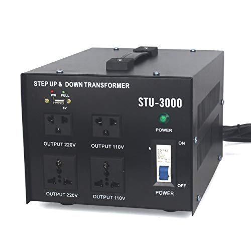 Cp-Tree 3000 Watt Auto Step Up & Step Down Voltage Heavy-Duty Transformer Converter Input 110/120/220/240 Volt Conversion Output 110 Volt and 220 Volts and DC 5V USB Port, CE Certified (3000VA) (220v 110v 3000w To Transformer)