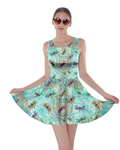 CowCow Womens Aztec Aquamarine Dragonfly Insect Skater Dress - L