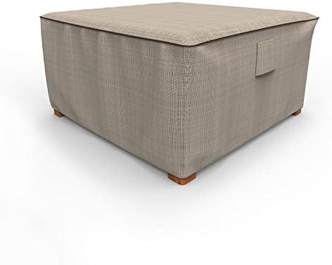 Budge P4A02PM1 English Garden Square Patio Table Ottoman Cover Heavy Duty and Waterproof, Extra Large, Two-Tone Tan
