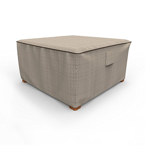 Budge English Garden Square Patio Table Cover / Ottoman Cover, Extra Large (Tan Tweed)
