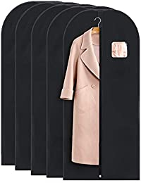 Garment Bag for Long Dress or Coat Breathable Gown Bag for Travel (42 x 60-5pc, Black)