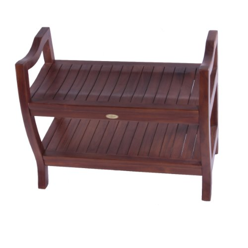 """UPC 639737380279, Patented 30"""" Contemporary Teak Shower Bench with Shelf with Arms"""