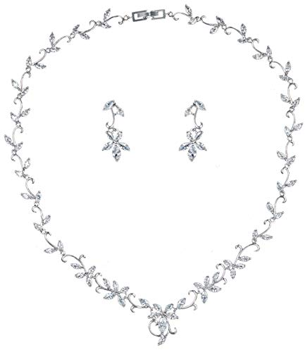 VenFine Full White CZ Cubic Zirconia Leaf Earrings Necklace Set Bridal Party Prom -