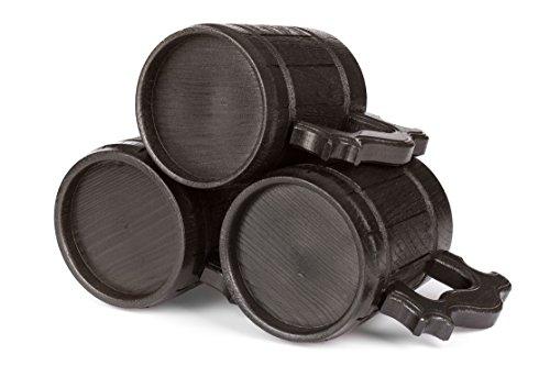Set of 4 Beer Mugs / Gifts Set of 4 Wooden Beer Mugs / Beer Steins By WoodenGifts - 0.6 Litres Or 20oz Wooden Mugs - Rustic Barrel Design - Stainless Steel Cups (Set of 4 Mugs) by WoodenGifts (Image #3)