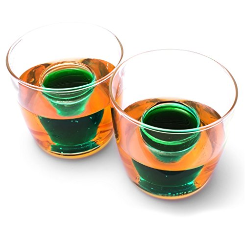 CKB Ltd Pack Of 2 Bomb Shots Shooter Set - Fun Party Drinking Novelty Two Chamber Bomb Shot Glasses - Holds 25Ml Measure Of Spirit & 150Ml Of Beer Or Soft Drink (Liqueur Jagermeister)