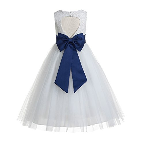 ekidsbridal Floral Lace Heart Cutout White Flower Girl Dresses Navy Blue First Communion Dress Baptism Dresses 172T 4 -