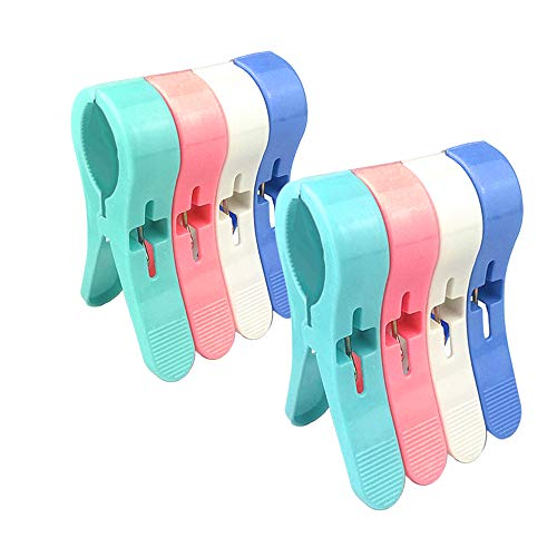 Beach Towel Clips Jumbo Size for Beach Chairs/Pool Lounges/Cruise Plastic Towel Clamp Clip Holder-Keep Your Towel,Clothes,Quilt,Blanket from Blowing Away,Bright Colors Clothes Lines(8 - Pin Towel