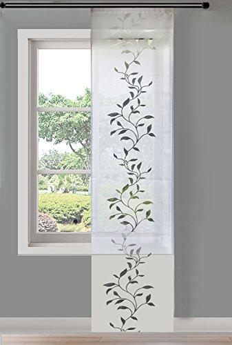 Moderner Flächenvorhang Schiebegardine Tendril aus hochwertigem Ausbrenner-Stoff mit Klettband, 245x60 (HxB), Weiß, 85611