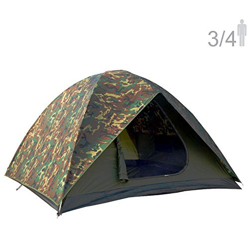 NTK HUNTER GT 3 to 4 Person 7 by 7 Foot Outdoor Dome Woodland Camo Camping Tent 100% Waterproof 2500mm, Easy Assembly, Durable Fabric Full Coverage Rain fly - Micro Mosquito Mesh for