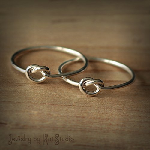 2 Friendship knot rings - Set of two best friends rings - bridesmaid rings - sterling silver 925 - Jewelry by Katstudio