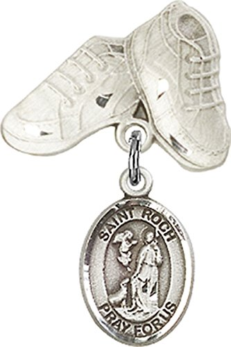 Sterling Silver Baby Badge Baby Boots Pin with Saint Roch Charm, 3/4 Inch from The Baby Badge Collection by Bliss