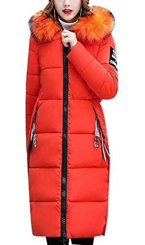 Semplice Lunga Piumino Vintage Cappuccio Autunno Elegante Arancia Manica Libero Calda Imbottitura Tempo Invernali Outerwear Slim Con Glamorous Fashion Cappotto Giacca Trapuntato Fit Donna q6OXPP