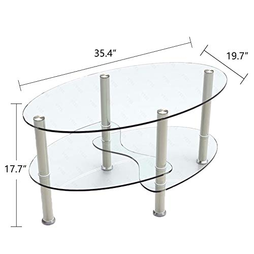 - Chrome Base Oval Shape Entry Sofa Side Fishtail Style Counter Coffee Table 3-Layer 35.43 x 19.69 x 17.72 Inch Tempered Clear Glass Living Room Furniture