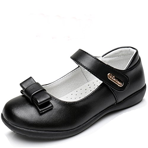 Chiximaxu Maxu Girl Uniform Leather Mary Jane Flat Shoes with Bowknot,Little Kid Size 1