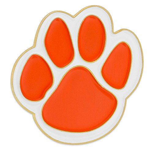 PinMart Orange and White Animal Paw Print School Mascot Enamel Lapel Pin ()