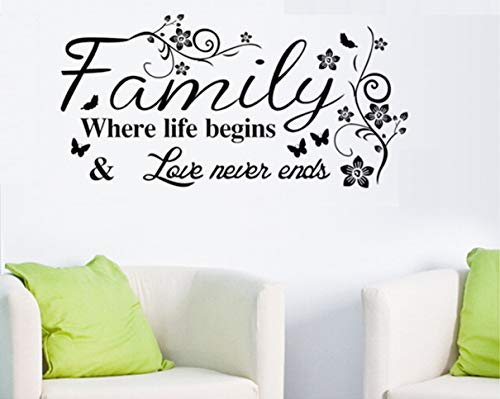 Jiarui Wall Stickers 'Family Where Life Begins 'Vinyl Wall Decal Words Quote Wall Art Sticker Home Decor for Bedroom Living Room 39.3 x 15.7 in (Black)]()