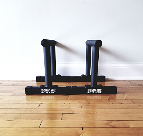 Boundary Movement Heavy Duty Parallettes | Calisthenics, Gymnastics, Crossfit Bar Workouts | GRIP TEX Coating for Improved Grip | 450 lb weight capacity