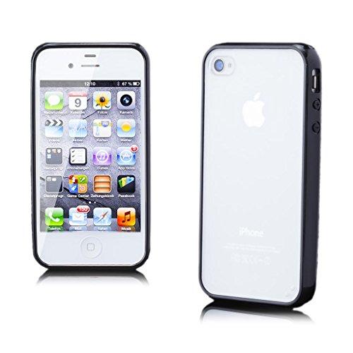 Apple iPhone 4 / 4S   iCues pare-chocs TPU mat Retour Case Noir   [Protecteur d'écran, y compris] protecteur de feuille transparente Temps clair de gel de silicone Housse étui de protection couverture