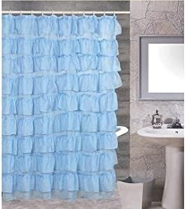 Sarahu0027s Spa Austrian Pleated Light Blue Shower Curtain