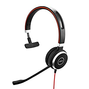 Jabra Evolve 40 MS Mono Headset – Microsoft Certified Headphones for VoIP Softphone with Passive Noise Cancellation…