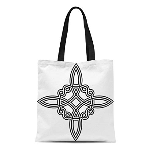 Semtomn Cotton Canvas Tote Bag Symbol Witch`S Knot Wicca Power of Four Viking Witch Reusable Shoulder Grocery Shopping Bags Handbag Printed