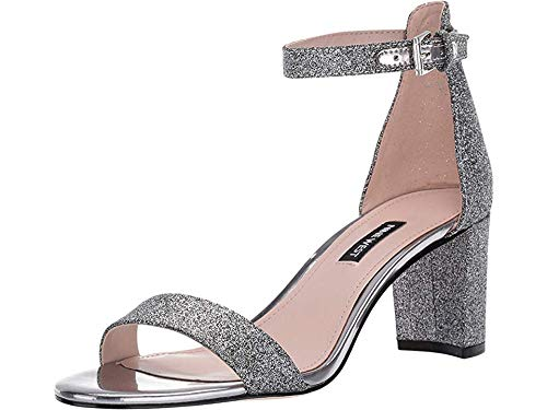 Nine West Women's Pruce Block Heeled Sandal Pewter 10.5 M -