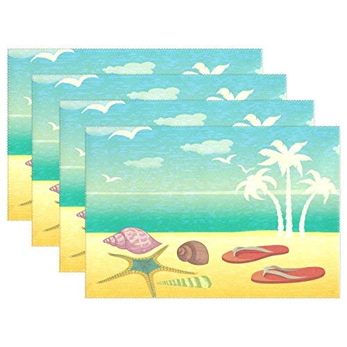 Amazon Com Table Placemats Vintage Ocean Beach Slipper