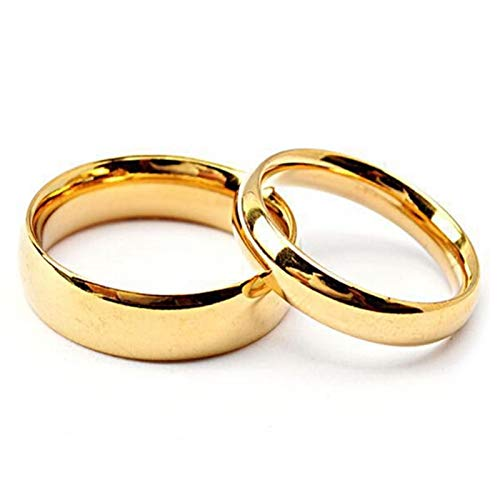 KnSam Couple Rings Stainless Steel 4/6Mm Width Gold Polished Ring Comfort Fit Gold Women Size 13 Men Size 13