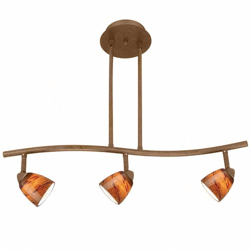 Cal Lighting SL-954-3-RU/LAS Track Lighting with Layer Amber Scale Glass Shades, Rust Finish