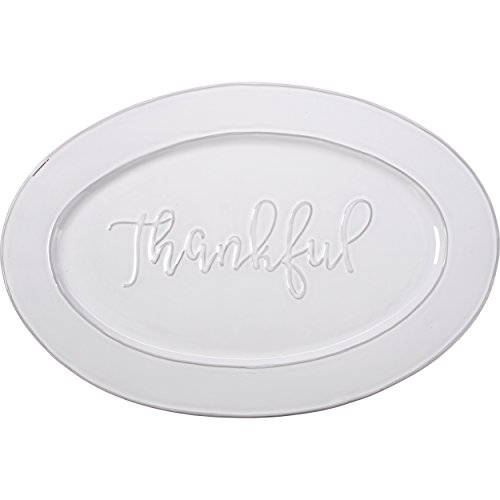 Glazed Ceramic Serving Platter (Bountiful Blessings by Precious Moments 179009 Thankful Ceramic Serving Platter, White, 18-inches by 12-inches)