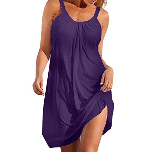 Very Hot Sexy Formal Dress - Womens Sexy Summer Bohemian Casual Soild O-Neck Vest Sleeveless Beach Dress Hotkey Womens Cocktail Dresses Purple