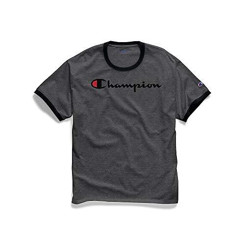 T-shirt Heather Ringer Mens (Champion Men's Classic Jersey Graphic Ringer T-Shirt, Granite Heather/Black Script, Small)