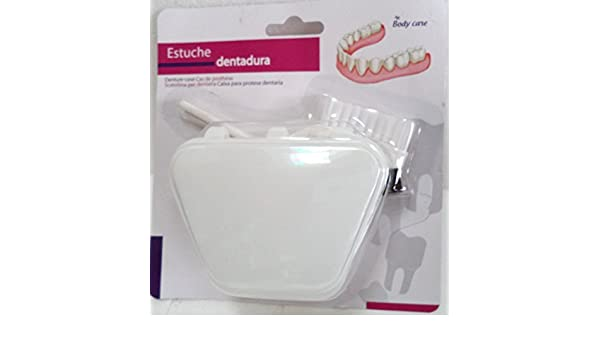 Estuche para guardar la Dentadura + Cepillo de dientes (tradicional y redondo). Color: Blanco. Medida caja: 10x8x5,5 cms. aprox..: Amazon.es: Hogar