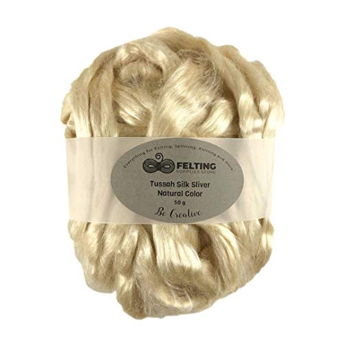 Tussah Silk Sliver Luxury Natural Unbleached Honey Color, Tussah Silk Roving Fiber for Soap Making, Wet Felting, Nuno Felting, Spinning, Paper Making, Crafts, Textile -