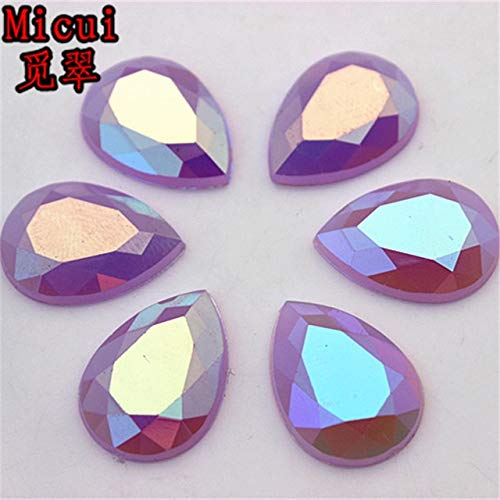 Pukido 100PCS 1014mm 1318mm Mix Color Opal AB Crystal Drop Rhinestone Flat Back Glue On Strass Crystals Acrylic Stones ZZ1/2 - (Color: Purple, Size: 13x18mm, Number of Pcs: 100Pcs)