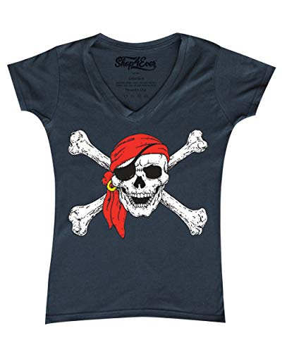 Shop4Ever Pirate Skull & Crossbones Women's V-Neck T-Shirt Pirate Flag Shirts Small Charcoal 11224]()