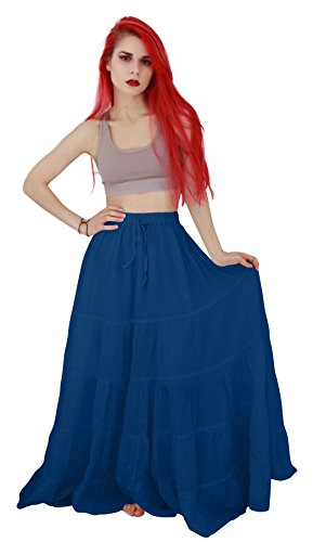 Billy's Thai Shop Cotton Maxi Skirt Boho Hippie Skirt Long Skirts for Women , Blue, One Size