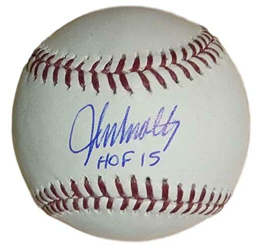 (John Smoltz Autographed/Signed Atlanta Braves OML Baseball HOF JSA)