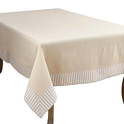 SARO LIFESTYLE Dupont Collection Striped Border Design Cotton Linen Tablecloth