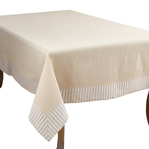 "SARO LIFESTYLE Dupont Collection Striped Border Design Cotton Linen Tablecloth, 70"" x 120"", Natural"